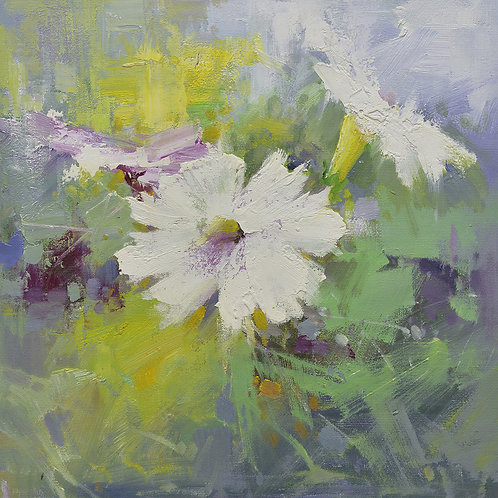16x16 oil painting of petunia flowers white and purple 22010510