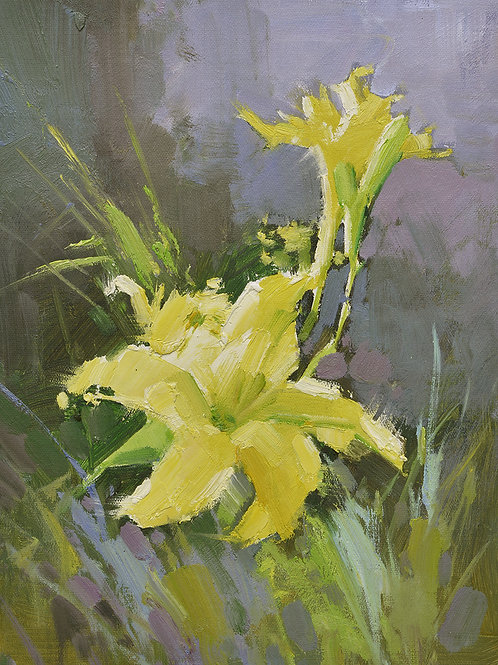 12x16 oil painting on canvas of yellow daylily flowers 22010552