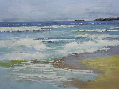 Studio art 36X48 large abstract oil painting of beach waves S-81912507