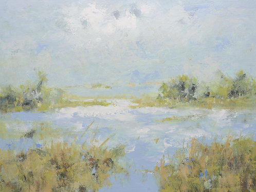 Studio Art 36X48 large oil painting of marsh landscape S-81912515