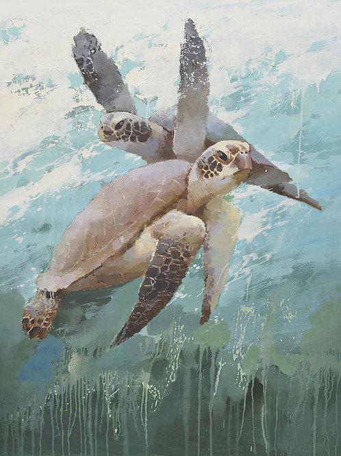 36x48 Modern oil painting of 2 sea turtles  in ocean 72071023