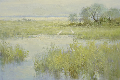 24x36 oil painting on canvas of egrets in marsh landscape 41809213
