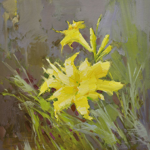 16x16 oil painting of yellow daylily flowers 22010519