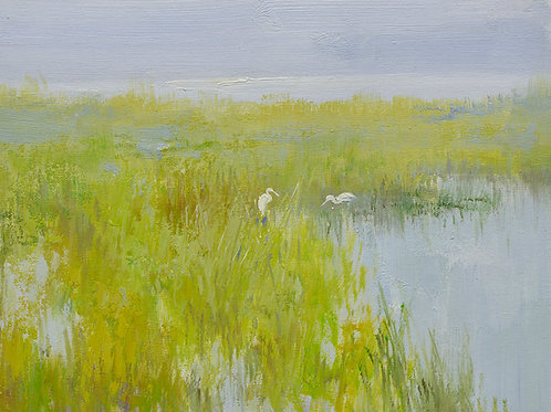 12x16 oil painting on canvas of egrets in marsh landscape 22010530