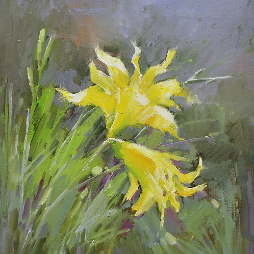 16x16 oil painting of yellow daylily flowers 22010518