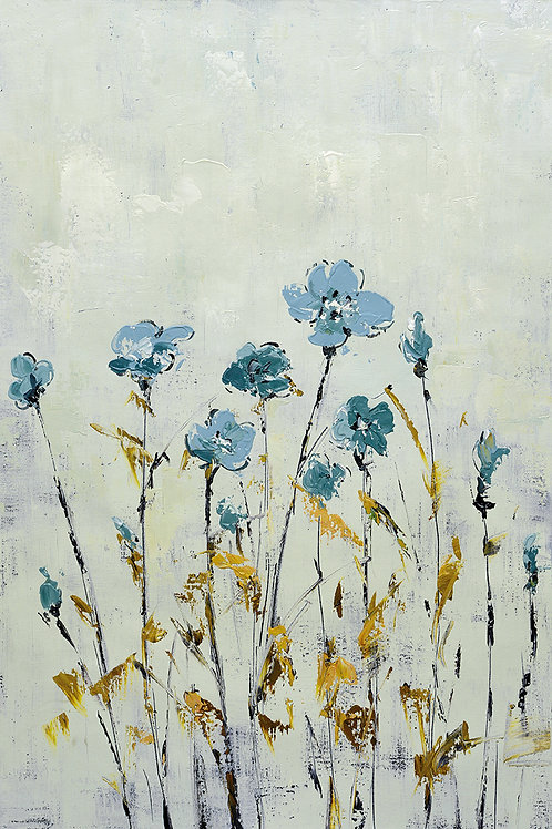 24x36 abstract oil painting on canvas with blue flowers 41981305