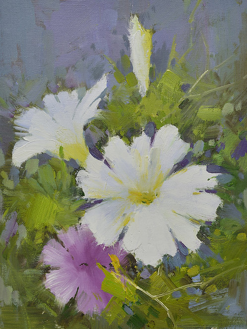 12x16 oil painting on canvas of petunia flowers 22010550