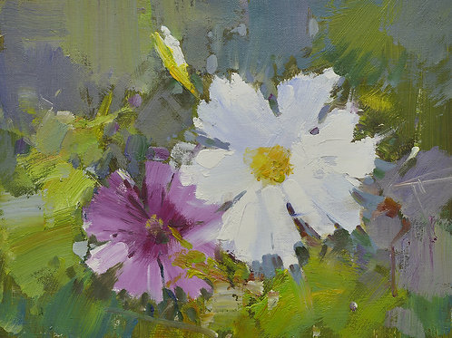 12x16 oil painting on canvas of petunia flowers 22010546