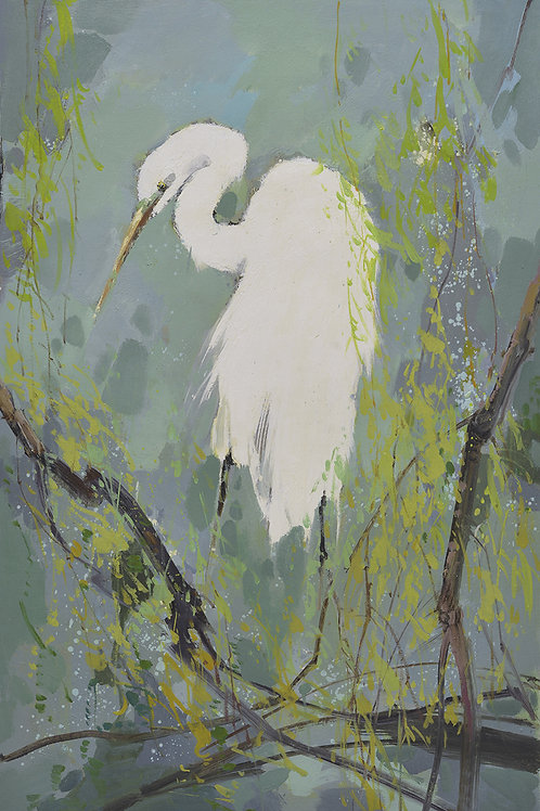 24x36 oil painting on canvas of white egret on tree branch 41992812