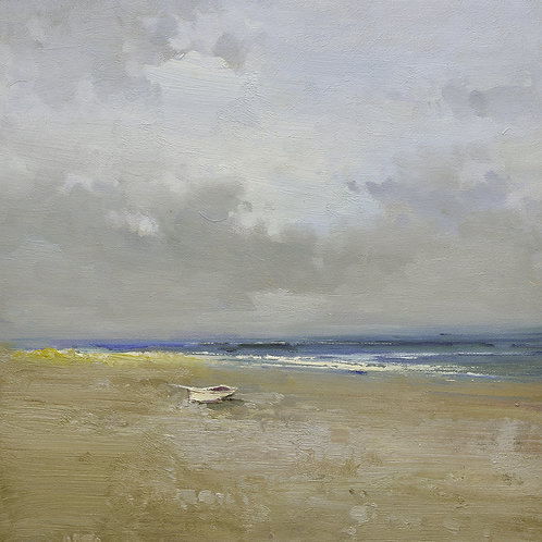16x16 oil painting on canvas of little white boat on beach 22010516