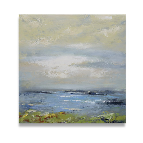 Studio art 35X35 large abstract lakeview oil painting S-71912105