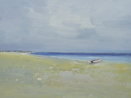 12x16 oil painting on canvas of little boat on beach 22010541