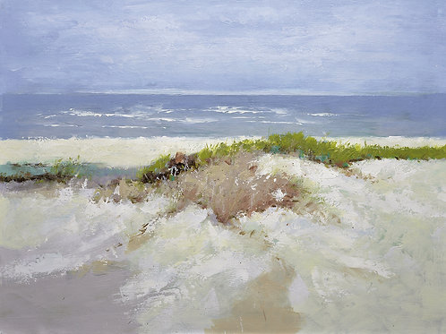 Studio art 36X48 large oil painting of sandy beach S-81912606