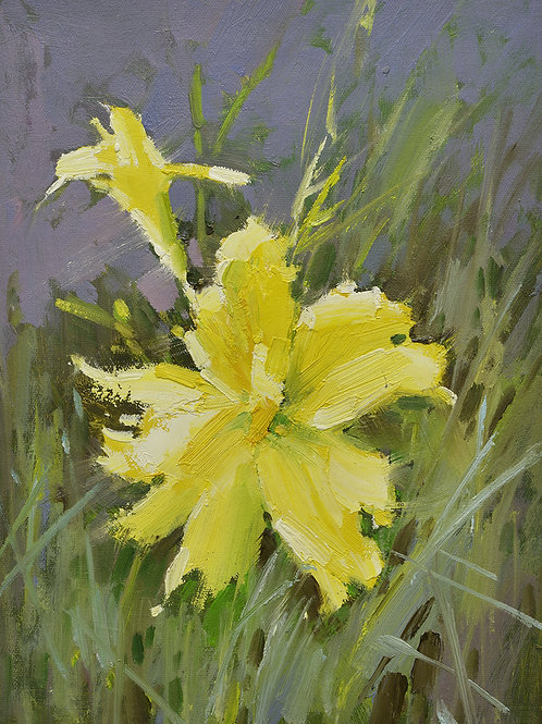 12x16 oil painting on canvas of yellow daylily flowers 22010553
