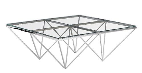 SILVER DIAMOND LEG COCKTAIL TABLE, GLASS