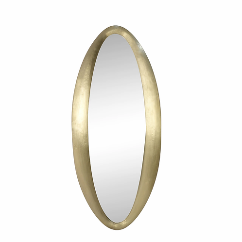 """WOOD / BRASS CLAD, 64"""" OVAL WALL MIRROR, GOLD"""