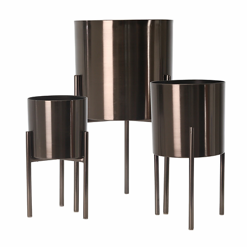 """S/3 METAL PLANTERS ON STAND 18/15/12""""H, GRAY"""