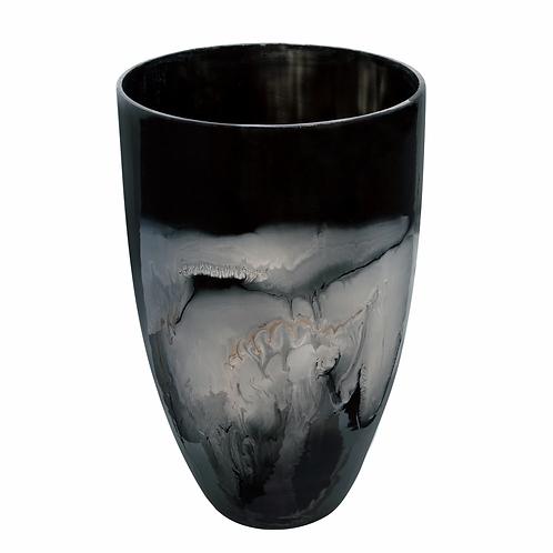 GLASS VASE, BLACK