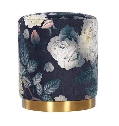 Floral Velvet Ottoman