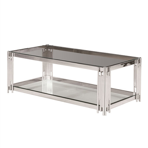 TIER SILVER/GLASS COCKTAIL TABLE