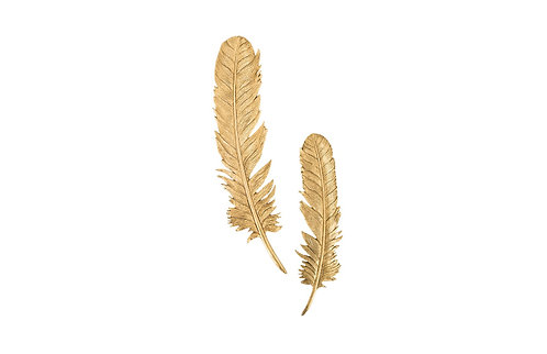 Feathers Wall Art Small, Gold Leaf, Set of 2