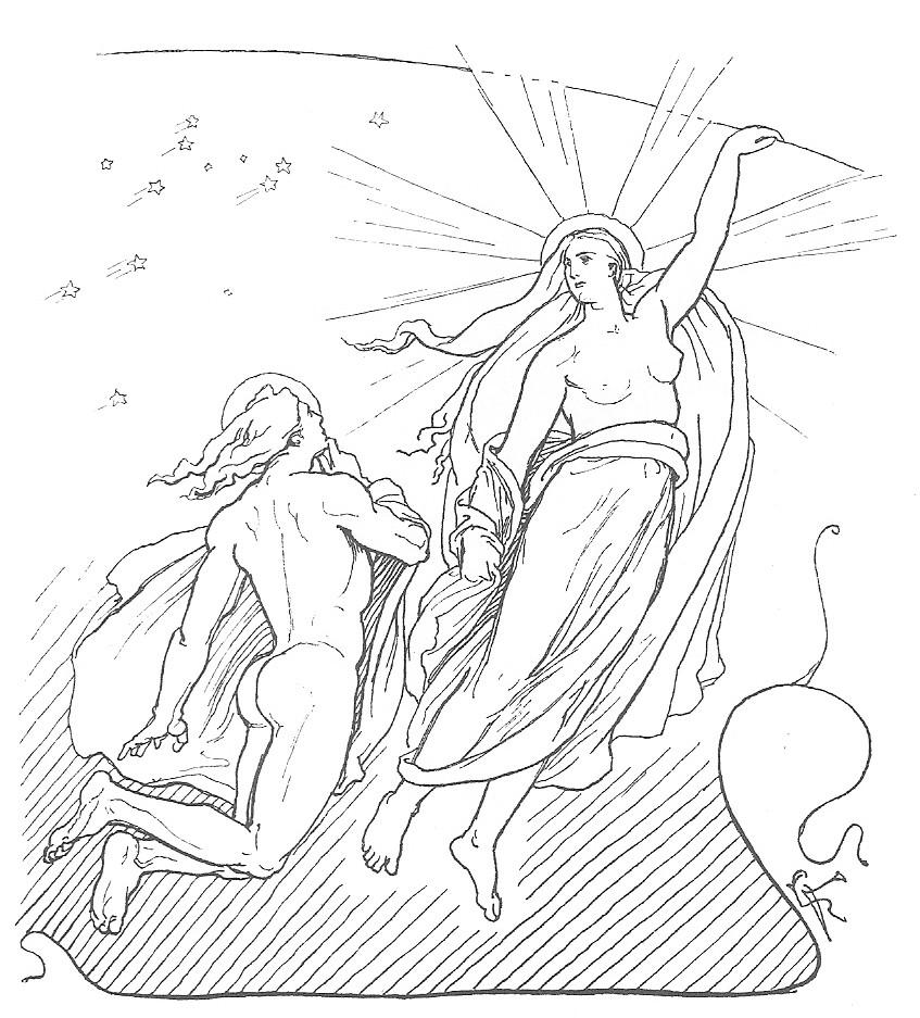 Mani und Sol, Zeichnung von Lorenz Frølich