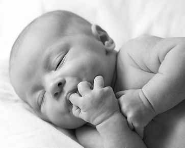 Newborn baby sucking their fingers, Sound Birth Services, Comox Valley