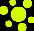 bola de tênis na cor amarela com seis bolinhas amarelas circulando a bola de tênis