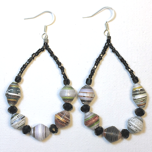 Paper Bead Teardrop Earrings (black)