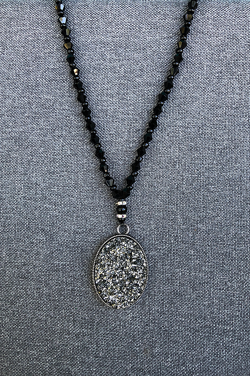 Black Glass with Cut Glass Pendant