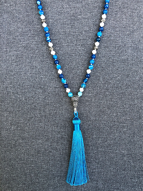 Blue Lace Agate and White Jade Mala