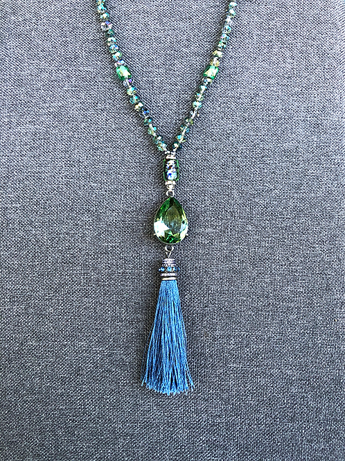 Green and Blue Glass Necklace with Green Glass Pendant