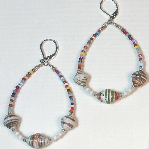 Colorful Paper Bead Teardrop Earrings & Necklace Set