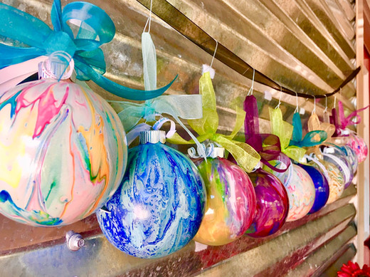 Pour-painted ornaments by Amy Harper