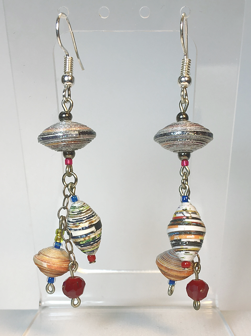 Dangly Paper Bead Earrings (red accent)