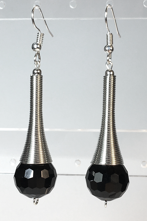 Coiled Silver and Black Earrings