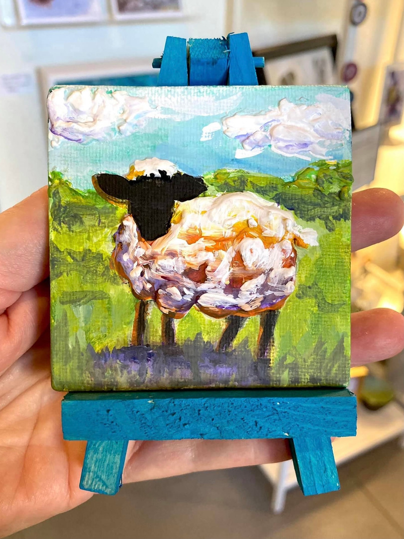 Tiny Sheep Painting by Lyrae Perry