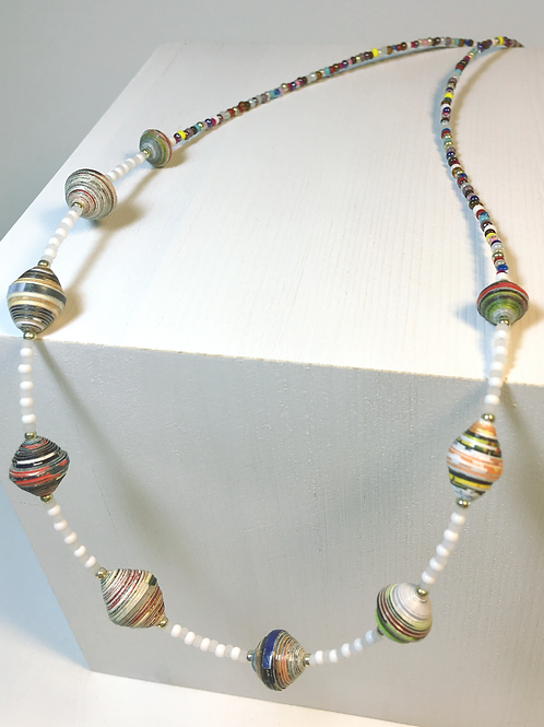 Colorful Paper Bead / Seed Bead Necklace & Earring Set