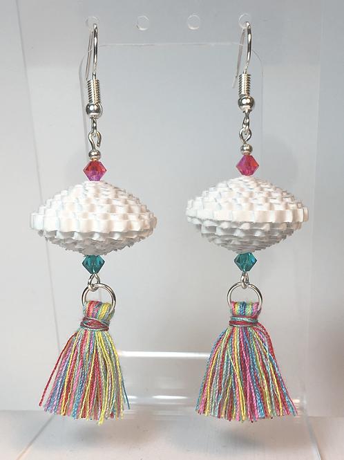 White Paper Bead / Tassel Earrings