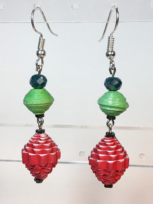 Paper Bead Earrings (red/green/blue)