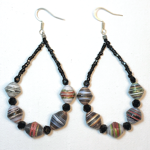 Paper Bead Teardrop Earrings (black2)