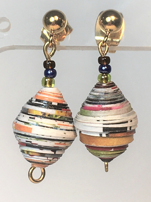 Single Paper Bead Stud Earrings