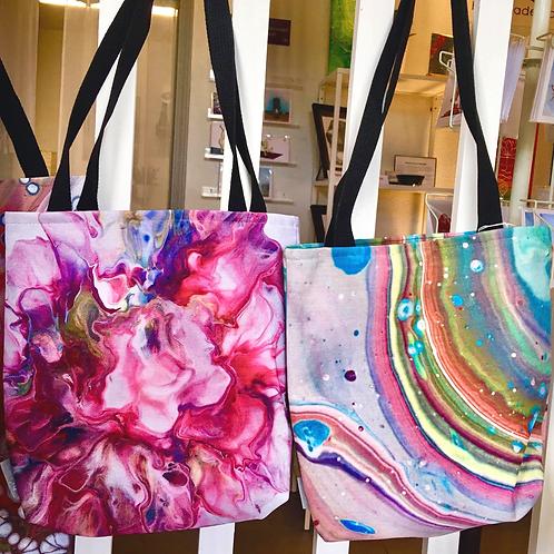 "Custom Printed Art Totes - ""Peony"" and ""Rainbow Tree-ring"""