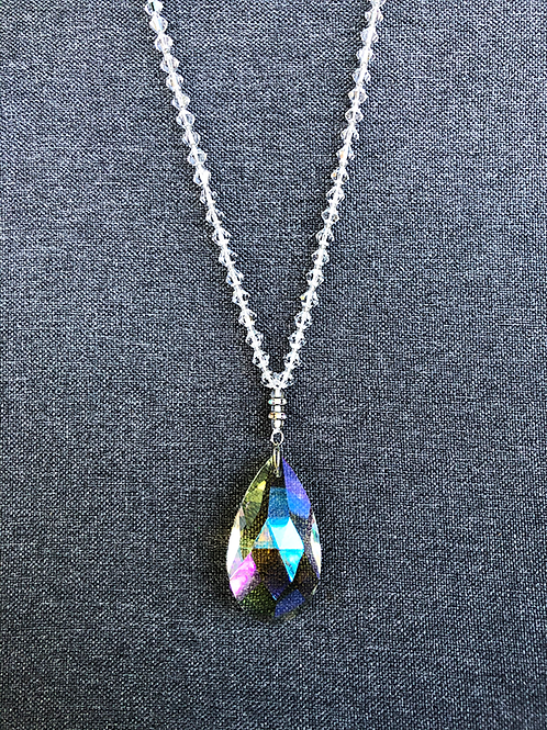 Clear Glass Beads with Glass Prism Pendant