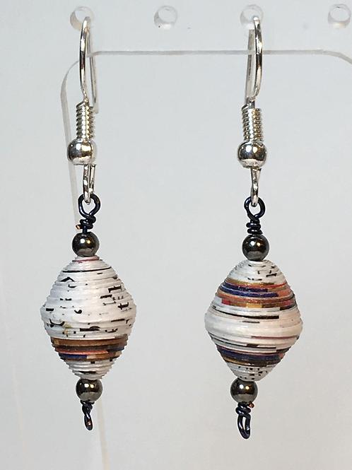 Simple Paper Bead Earrings (white)