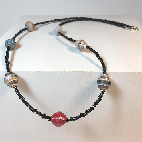 Paper Bead / Black Seed Bead Necklace