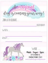 Unicorn Birthday Party Free Printable Invitation