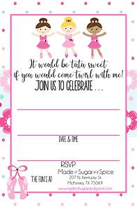 Ballerina Party Invitations
