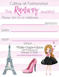Fashionista Birthday Party Invitations