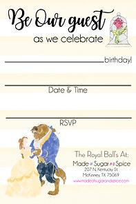 Beauty & the Beast Party Invitations